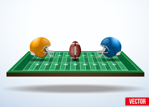 © Batareykin | Dreamstime.com - Symbol Of A American Football Game On Field.